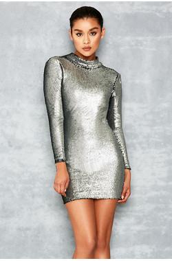 Starlight Silver Sequin Backless Dress