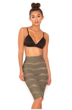 Sugar Plum Khaki Bandage and Mesh Pencil Skirt