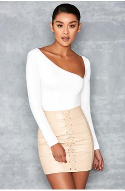 Sweetiepie White Silky Jersey Asymmetric Bodysuit