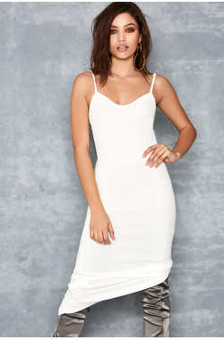 Tearaway White Stretch Rib Knit Midi Dress