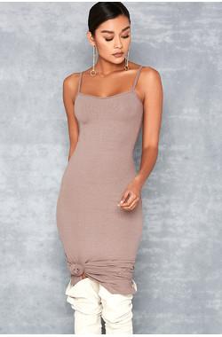 Tearaway Taupe Stretch Rib Knit Midi Dress