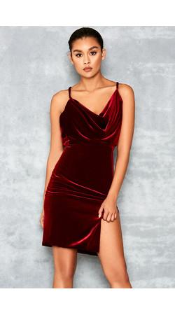 Homecoming Red Velvet Draped Dress