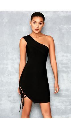 Kisses Black Bandage One Shoulder Dress