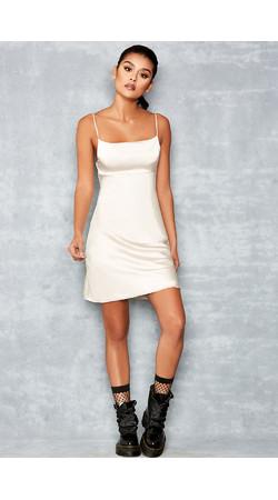 Rapture Nude Skinny Strap Satin Slip Dress