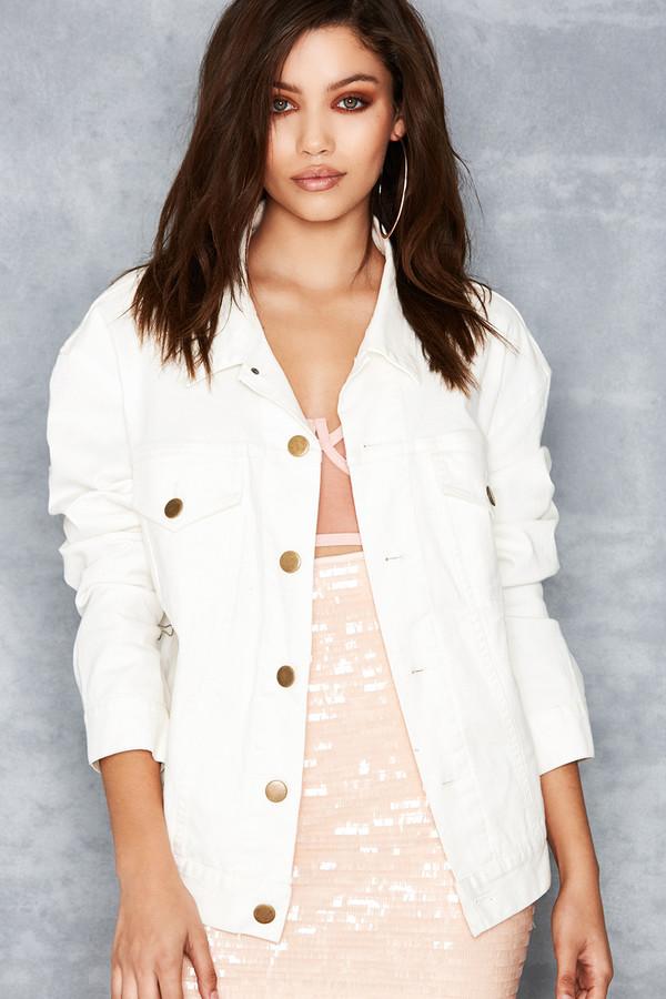'Fathom' White Classic Oversized Denim Jacket