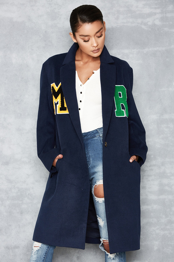 Night Porter Navy Wool Mix Logo Badge Coat