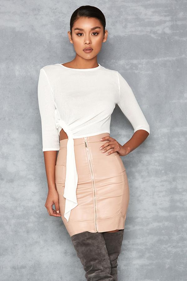 Overflow Nude Vegan Leather Mini Skirt