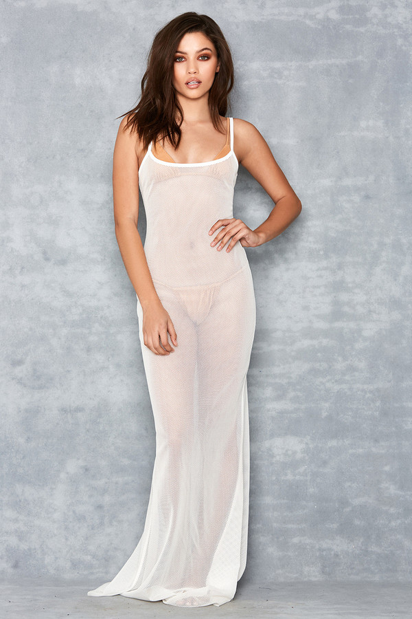 Gossamer White Sheer Fishnet Maxi Dress