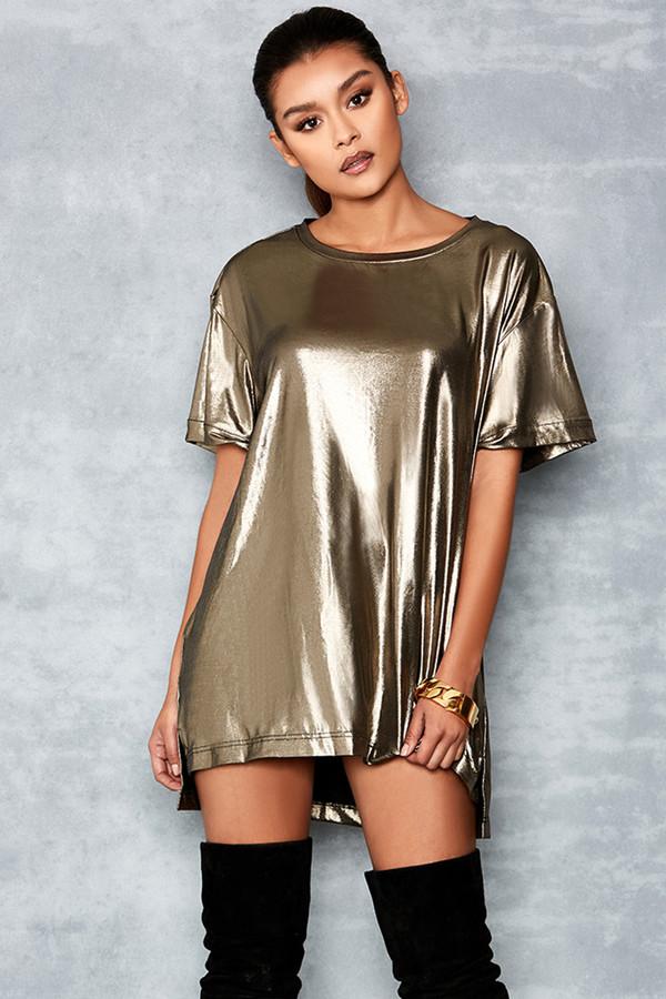 Idol Light Bronze T-Shirt Dress