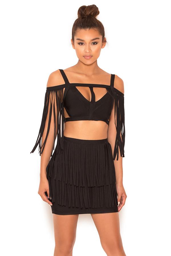Lust Black Bandage Fringed Mini Skirt
