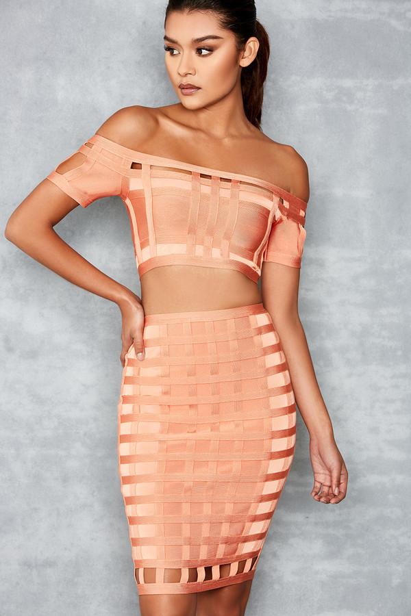 Make Believe Tangerine Bandage Two Piece