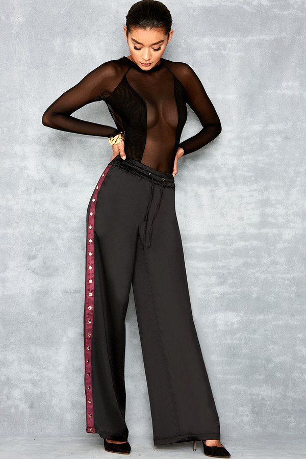 Obsess Black Silky Wide Leg Luxe Joggers