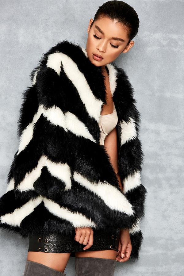 Swing Out Black & White Chevron Faux Fur Coat