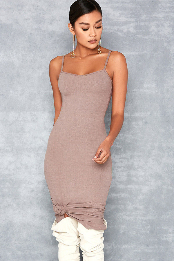 Tearaway Taupe Stretch Rib Knit Midi Dress