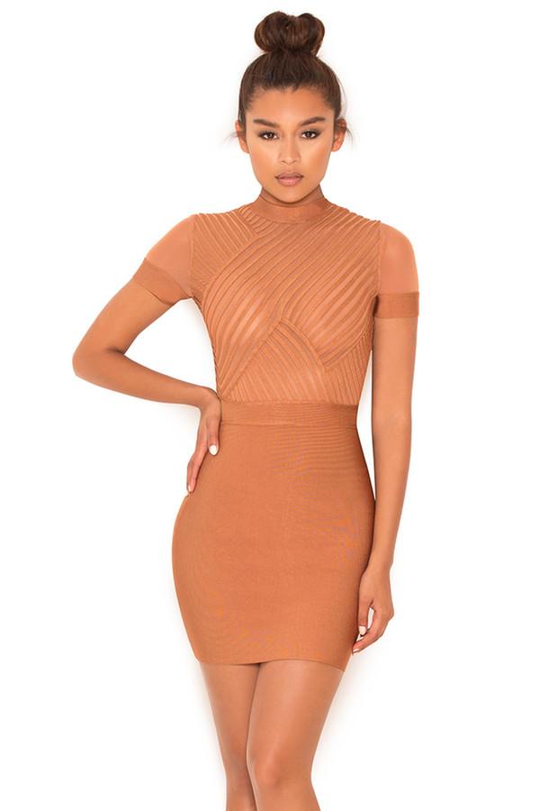 Touchdown Tan Bandage and Mesh Dress
