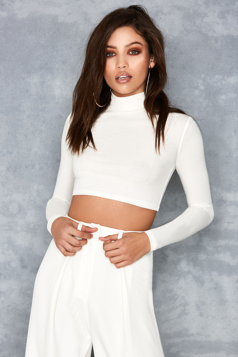 Freedom White Long Sleeve Cropped Top