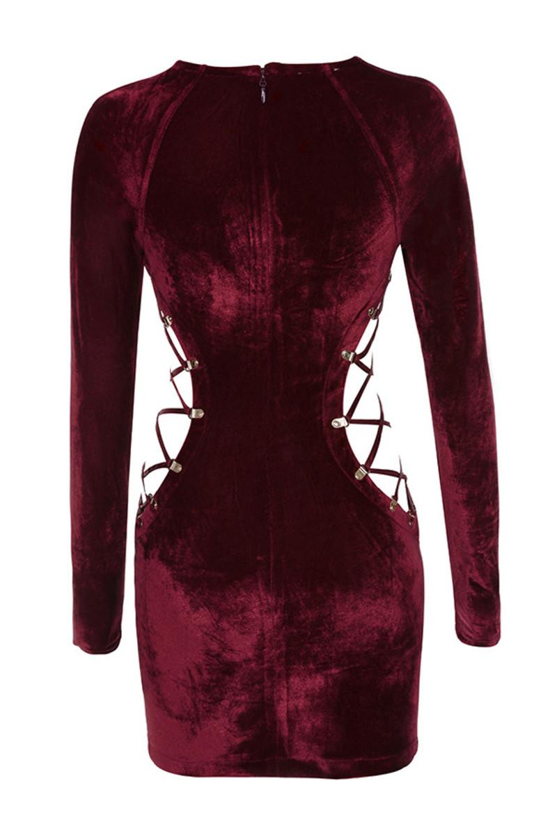 halfway dress in dark red
