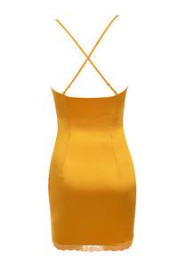 courtesan dress in mustard