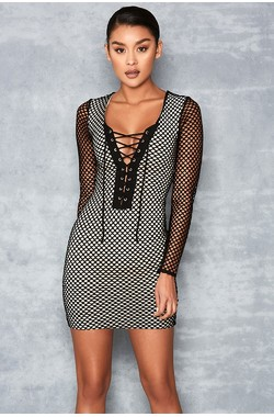 Buff Black Mesh Lace Dress