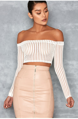 Devoted White Striped Mesh Off Shoulder Top