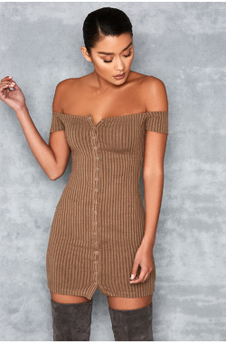 Motown Olive Off Shoulder Mini Dress