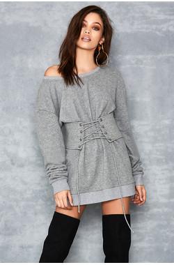 Nutcracker Grey Mark Corseted Sweatshirt Dress