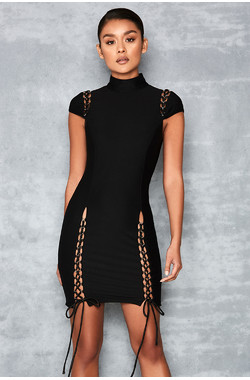 Pleasure Black Turtle Neck Dress with Lace Ups