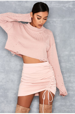 Sinful Dusty Pink Gathered Front Mini Skirt