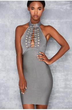 Sunshine Grey Bandage High Neck Mini Dress