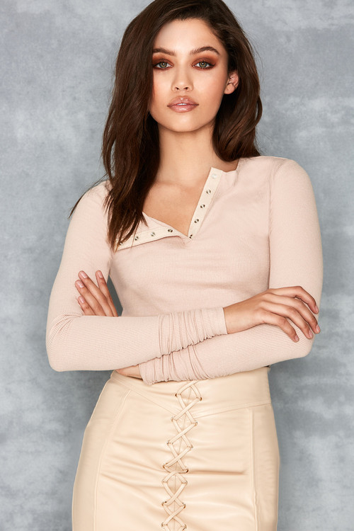 Sweet Lust Nude Ribbed Jersey Cropped Top