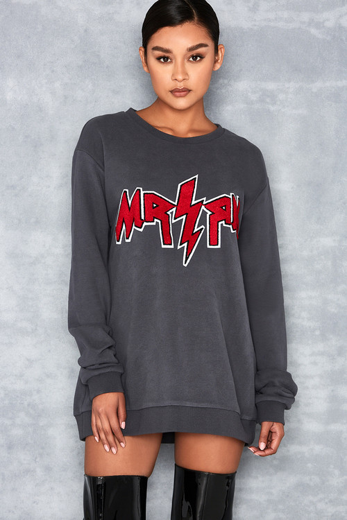 Thug Life Dark Grey Oversized Sweatshirt