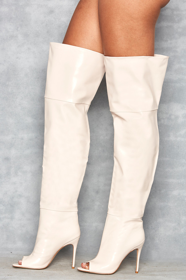 Dreamland Cream Thigh High Open Toe Boots