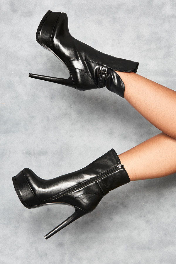 Iconic Black Belted Tread Platform Ankle Boots
