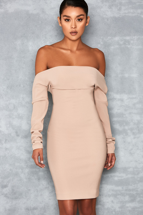 Amatory Nude One Shoulder Dress