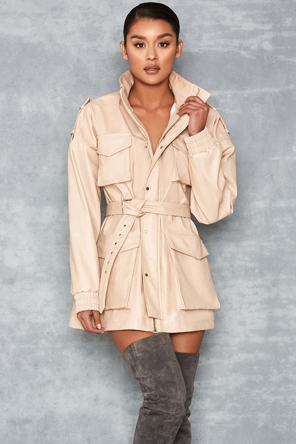 Matahari Nude Vegan Leather Oversized Safari Jacket