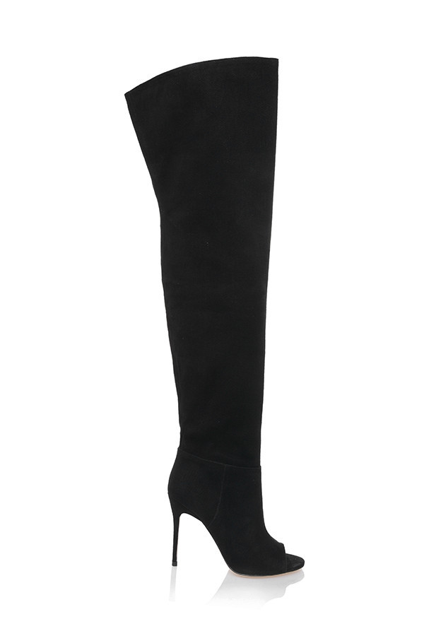 Peepshow Black Suede Open Toe Thigh Boots