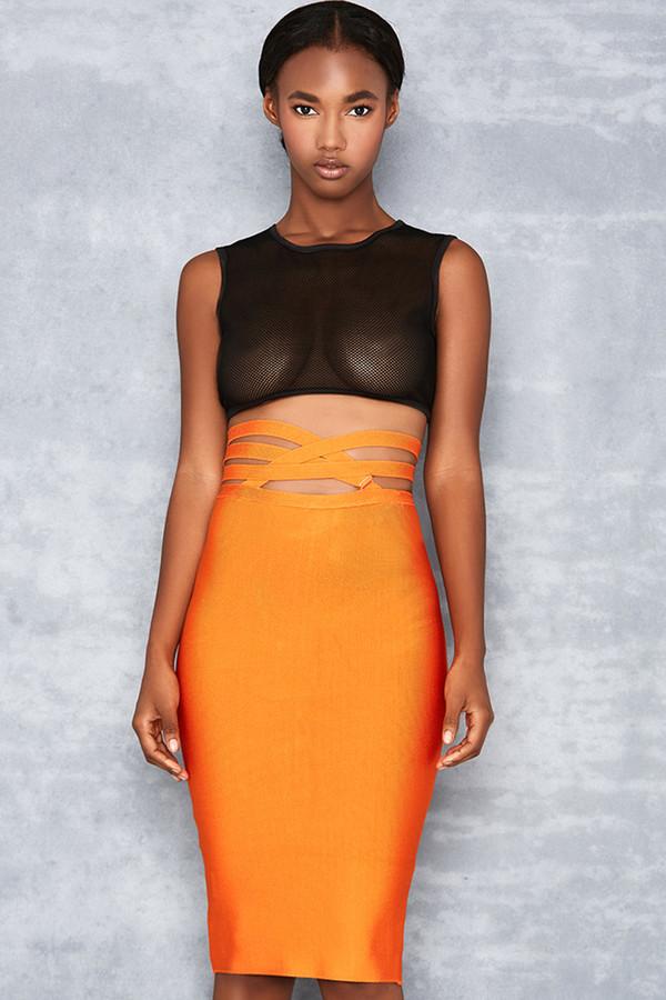 Long Shot Orange Tie Waist Bandage Skirt