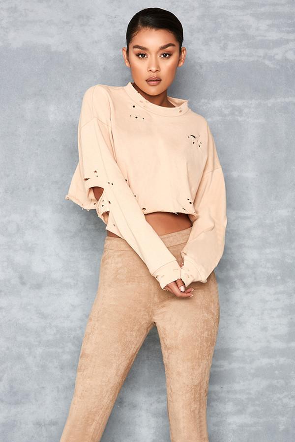 Risk Taker Nude Cropped Destroyed Sweatshirt