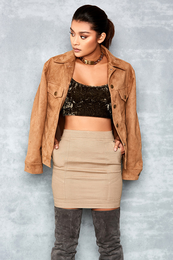 Savage Tan Suedette Oversized Jean Jacket