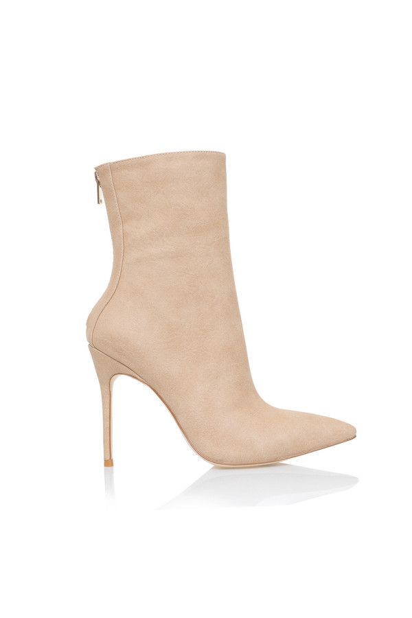Spectre Tan Suede Stiletto Ankle Boots