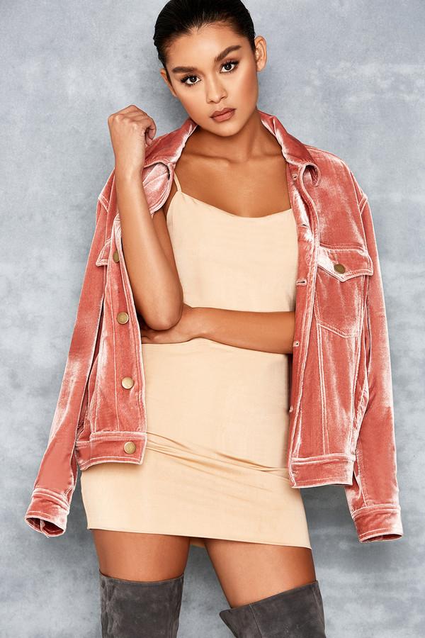Spring Break Dusty Pink Classic Oversized Velvet Jacket