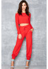 Outer Limits Red Ribbed Jersey Tracksuit Set