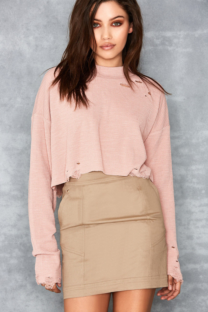Trust Blush Destroyed Rib Knit Top