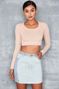 Tijuan Nude Lettuce Edge Crop Top