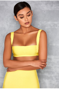 Euphoria Sherbet Yellow Bandage Cage Cropped Top