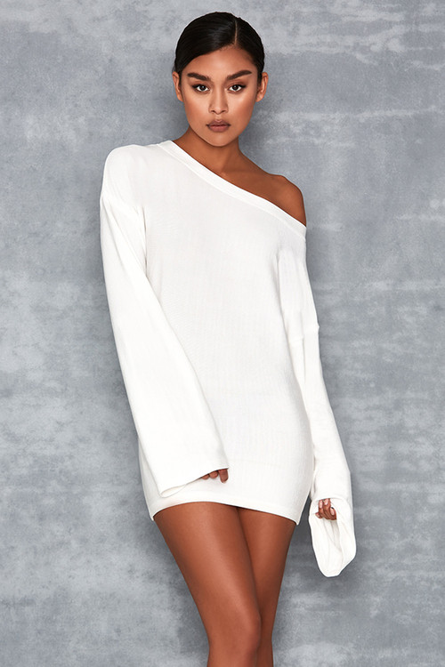 'Belong' White Oversized One Shoulder Bandage Sweater