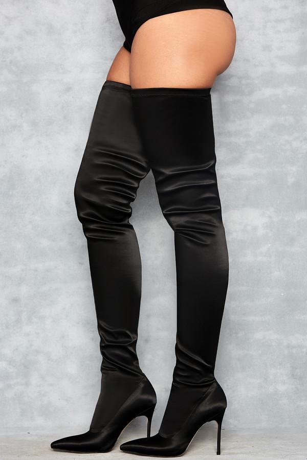 'Icon' Black Satin Pu$$y-High Thigh Boots
