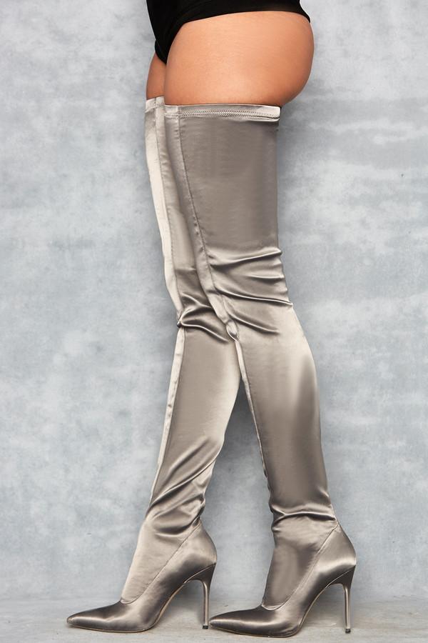 Icon Grey Satin Pu$$y-High Thigh Boots