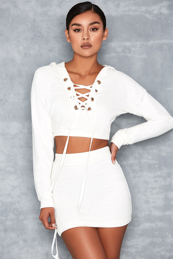 Captivate White Jersey Oversized Hoodie Two Piece