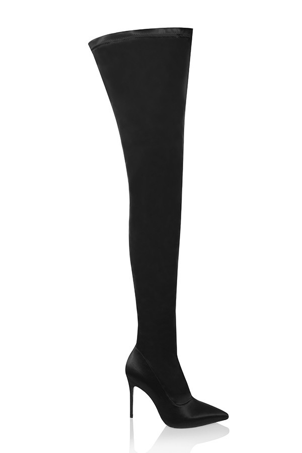 'Icon' Black Satin Pu$$y-High Thigh Boots